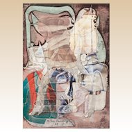 """M. HENDRYCH (20rh Century) - Original Signed Mixed Media With Collage, Dated 1987,  """"Shared Throne"""""""
