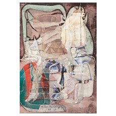"M. HENDRYCH (20rh Century) - Original Signed Mixed Media With Collage, Dated 1987,  ""Shared Throne"""