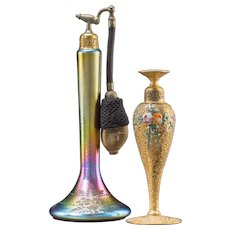 DE VILBISS -  TWO Gilt Bronze, Enamel and Iridescent Glass Perfume Bottles