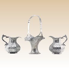 VICTORIAN Silver Plate - THREE Signed Table Top Pieces -Large Basket and Two Pitchers - All With Beautifully Detailed Motifs, Hallmarked