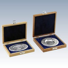 JUDAICA - TWO Sterling Silver Miniature Trays in Original Boxes.