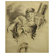 "Original Charcoal On Paper Illustration ""A Discussion"" -Circa 1890 - 1910."