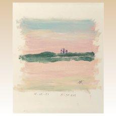 MORT KUNSTLER (American b. 1931) - Original Signed/Dated Launch Site Sketch, Oil on Paper 1981