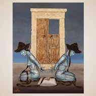 Original Signed Mixed Media - Continental School - Sensuous and Exotic - Two Nude Women In Bondage.
