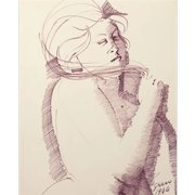 """EMILIO GRECO (Italian 1913-1995) Original Signed Ink On Paperboard """"Female In Purple"""" Signed/Dated 1964."""