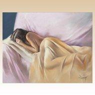 "DOMINGO ALVAREZ GOMEZ (Spanish, b. 1942) Original Signed Pastel on Paper ""Shine in the Dream"""