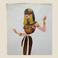 JEAN LOUIS (French/American 1907 - 1997) - Original Costume Sketch For Salome (Columbia, 1953)  - ARSENATH, A Handmaiden - Mixed Media