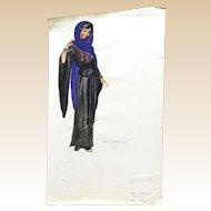 JEAN LOUIS (French/American 1907 - 1997) - Original Costume Sketch For Salome (Columbia, 1953) - WAKARA, A Handmaiden - Mixed Media