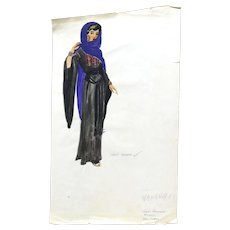 JEAN LOUIS (French/American 1907 - 1997) - Original Costume Sketch For Salome (Columbia, 1953) - WAKARA, A Handmaiden - Mixed Media