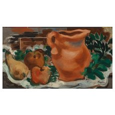 ROGER BISSIERE (French, 1886 - 1964)  Original Signed Oil On Canvas - Still Life With Pear, Apples, and Pitcher