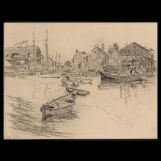 """LIONEL BARRYMORE (American, 1878-1954) - Signed and Titled Etching - """"San Pedro.""""   Lionel Barrymore was an Artist,Actor, and Star of Stage, Screen and Radio"""