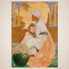 """GEORGE WASHINGTON HOOD (American, 1869-1949) - Original Signed Oil Mystic Bird.  (Published 1909 in """"Legends of the Alhambra."""")"""