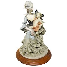 MOTHER AND CHILD Fine Porcelain Sculpture - Signed A. G.