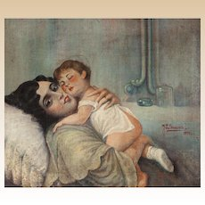 "J. E. Bancara (Spanish, 20th Century) - Original Oil Signed/Dated ""Maternidad"" (Motherhood) - Circa 1931"