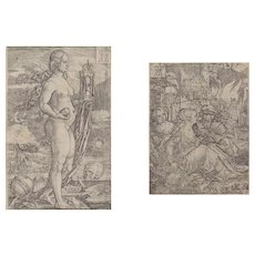"""HEINRICH ALDEGREVER (German 1502 - 1555) - TWO WORKS -  """"Momento Mori"""" and """"Lot and his Daughters"""" (two works)"""