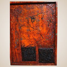 """ALEXANDER GORE (Russian/American 20th Century) Large Original Signed Abstract Mixed Media """"Running From Two Black Squares"""" (Impasto)"""