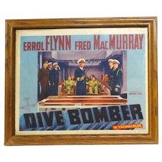 "ERROL FLYNN Original Lobby Card ""Dive Bomber"" c. 1941"