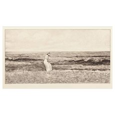 """MAX KLINGER (German 1857-1920) - """"Changing Ground"""" Etching By Very Well Listed and Collected Important Artist"""