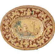 17th Century French Palissy-Style Figural Glazed Terracotta Oval Plate