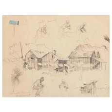 "Edward Mugge ""Buck"" SCHIWETZ (American, 1898-1984) ORIGINAL Signed/Dated  ""DeWitt County Fragment"" - 1936."