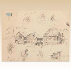 "Edward Mugge ""Buck"" SCHIWETZ (American, 1898-1984) ORIGINAL Signed/Dated  ""DeWitt County Fragment"" - 1936."