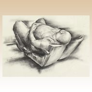 """IVER ROSE (American, 1899 - 1972) -Original Signed Charcoal On Paper """"The American Man""""  - WPA Artist's Social Statement"""