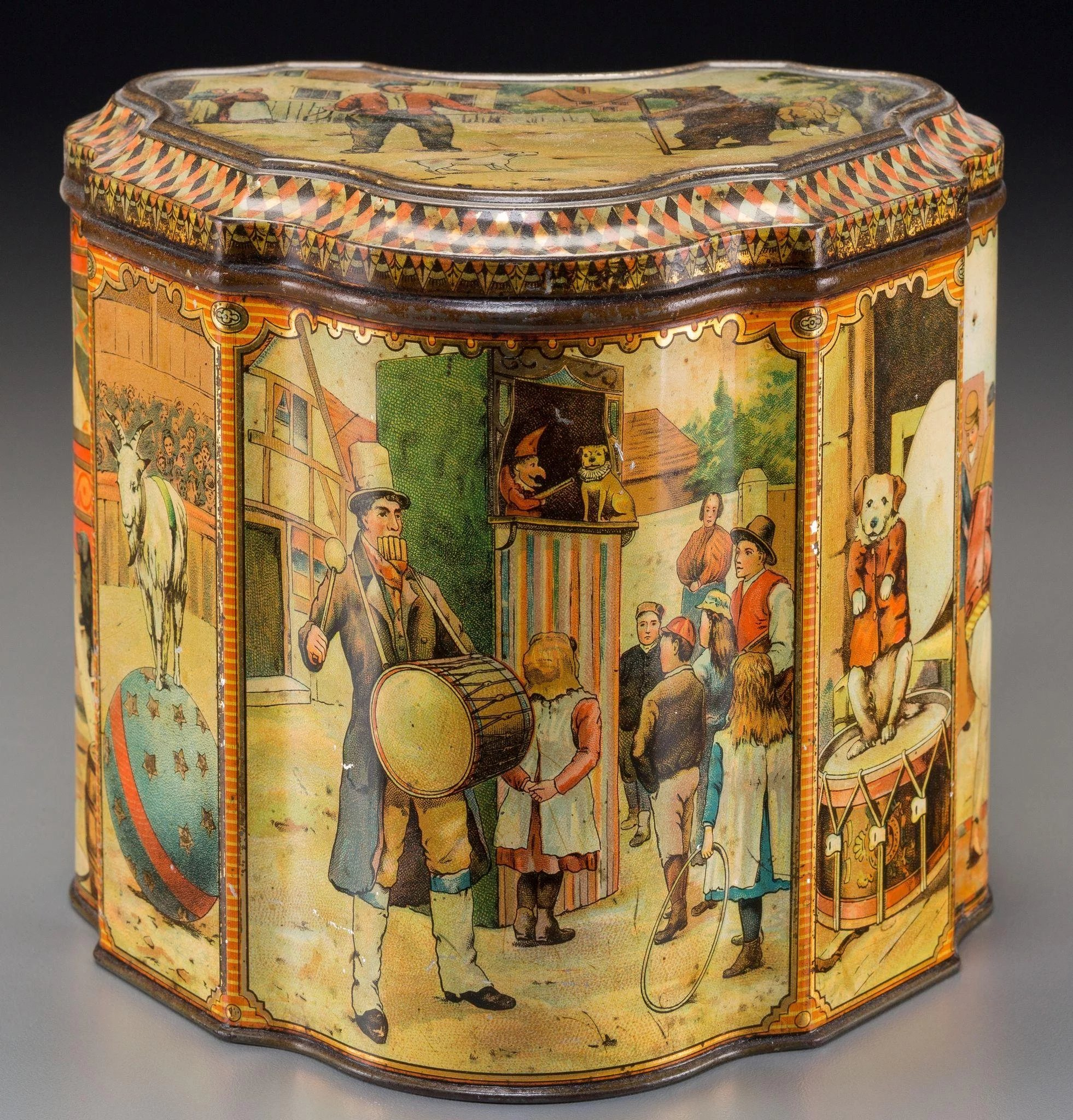 Antiques Collectibles: Antique Biscuit Tin, Rare Circus Themed, By Huntley