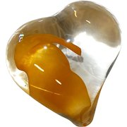 Exquisite Art Glass Free Form Heart Paperweight