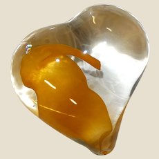 Lovely  Art Glass Free Form Heart Paperweight