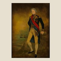 """Hand-Colored Etching of """"The Right Hon Lord Nelson K. B. Vice Admiral Of The Blue Duke of Bronti"""" in an Antique Mahogany Frame.  19th Century."""