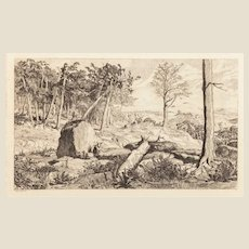 """MAX KLINGER (German 1857-1920) - """"Hidden Landscapes"""" Etching By Very Well Listed and Collected Important Artist"""