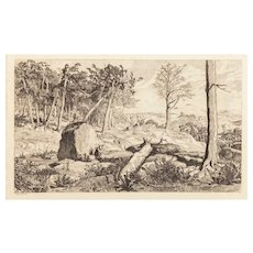 "MAX KLINGER (German 1857-1920) - ""Hidden Landscapes"" Etching By Very Well Listed and Collected Important Artist"