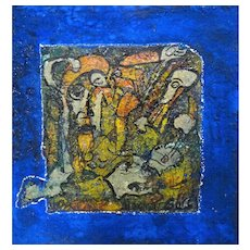 ALEXANDER GORE (Russian/American 20th Century) Original Abstract Impasto Oil,  Mixed Media Painting Signed, With Artist's COA -