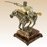 "GIUSEPPE VASARI (Italian, 20th Century) - Silvered Gilt Bronze Sculpture ""The Cossack""  Signed/Numbered Limited Edition."