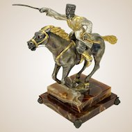 """GIUSEPPE VASARI (Italian, 20th Century) - Silvered Gilt Bronze Sculpture """"The Cossack""""  Signed/Numbered Limited Edition."""