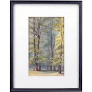 "19th Century British Original Watercolor ""In Bushey Park"" - Dated 1889"