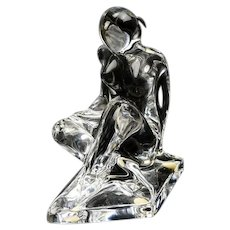 """BACCARAT Crystal """"Seated Nude With Book"""" By Robert Rigot, Signed - Rare And Beautiful!"""