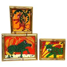 BARRY VAN GERBIG (American, 20th century) Grouping of Three Signed Original Acrylic On Canvas Zebra, Green Jungle Cat, Leopard