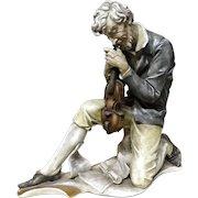 "ANTONIO BORSATO  (1911 - 1982) - ""The Musician""  Rare Porcelain Sculpture"
