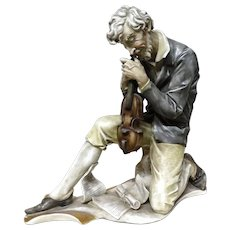 "ANTONIO BORSATO  (1911 - 1982) - ""The Musician""  Rare Porcelain Sculpture"