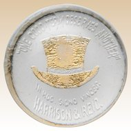 "Historical ""Harrison Hat""  - Benjamin Harrison Glass Grandfather's Hat Paperweight"