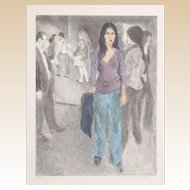"RAPHAEL SOYER (Russian/American 1899-1987) - ""Passing By"" (Street Scene #3)  Signed/Numbered Limited Edition  Lithograph In Colors"