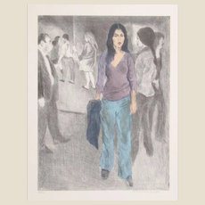 """RAPHAEL SOYER (Russian/American 1899-1987) - """"Passing By"""" (Street Scene #3)  Signed/Numbered Limited Edition  Lithograph In Colors"""