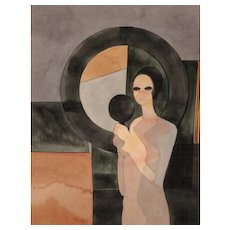 "ANDRE MINAUX (French, 1923-1986) Original Signed Watercolor ""Femme au Miroir"""