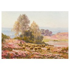 "EDOUARD PAIL (French, 1851-1951)  Original Signed Oil On Canvas ""Sheep Grazing in the Heather"" - Red Tag Sale Item"