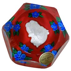 """SAINT LOUIS 1979 """"Amour"""" faceted Cupid Sulphide Paperweight"""