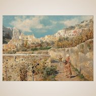 L. ZANETTO (Italian, Late 19th Century) - Original Signed Antique Oil Painting On Board - Path Through The Town