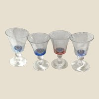 FOUR Antique Whitefriars Concentric Millefiori Crystal Wine Glasses