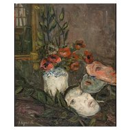 """PIERRE LAPRADE  (French, 1875-1931) - Original Signed Oil On Canvas """"Red Flowers and Masks"""""""