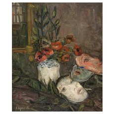 "PIERRE LAPRADE  (French, 1875-1931) - Original Signed Oil On Canvas ""Red Flowers and Masks"""